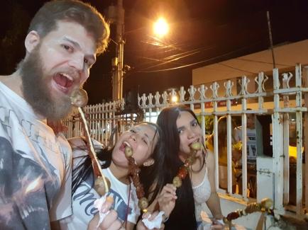 Luz, Mayra and I enjoying some well earned chuzos
